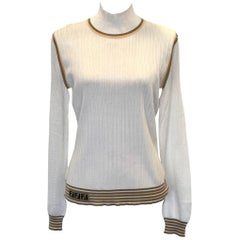 Womens Designer Mesh-sleeve Knitted Silk Top