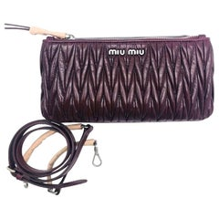Womens Designer Miu Miu Matelasse Cross Body Bag -Burgundy