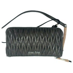Womens Designer Miu Miu Matelasse Cross Body Bag -Grey