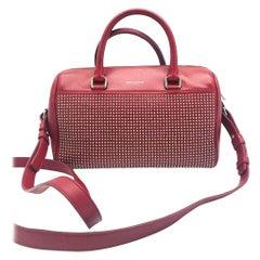 Womens Designer SAINT LAURENT Classic Baby Duffle Red Leather Handbag