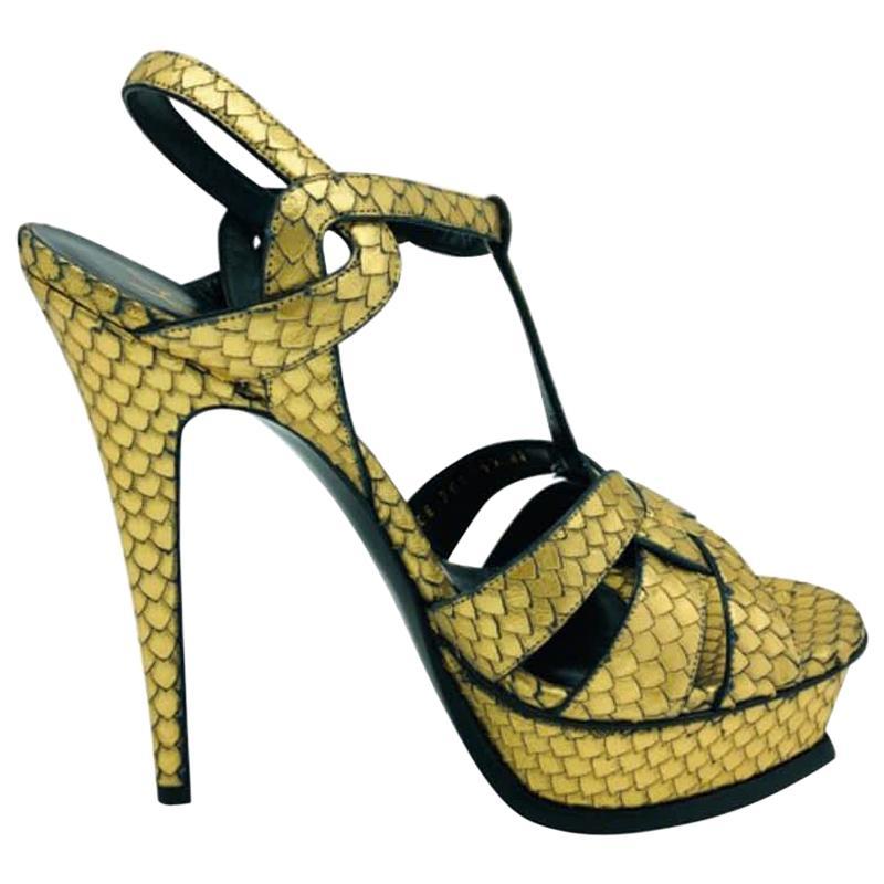 Womens Designer Saint Laurent Metallic Python Platform Tribute Sandal