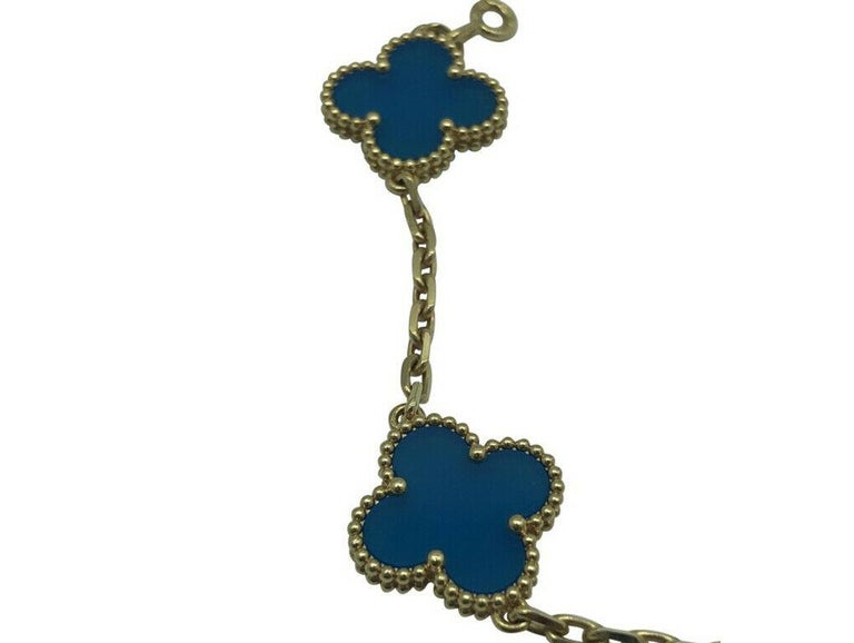Modern Womens Designer Van Cleef & Arpels Alhambra Bracelet 5 Motifs - Agate
