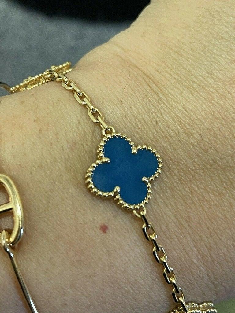 Womens Designer Van Cleef & Arpels Alhambra Bracelet 5 Motifs - Agate 2