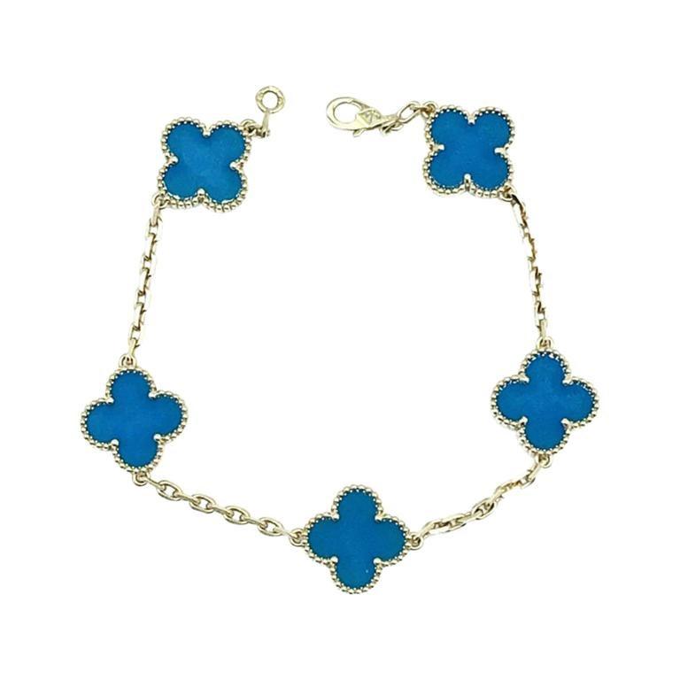 Womens Designer Van Cleef & Arpels Alhambra Bracelet 5 Motifs - Agate