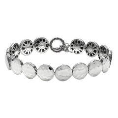 Women's Dot Hammered Silver Small Round Disc Bracelet BB7213XM