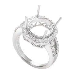 Women's Large 18 Karat White Gold Diamond Engagement Ring Mounting ASM-2754W
