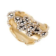 Womens Long 18 Karat Yellow Gold Diamond Flower Band Ring