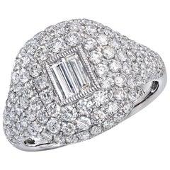 MICRO PAVE RING DOUBLE BAGUETTE DIAMOND CENTER 1.69 Carat TW 14kt W/G