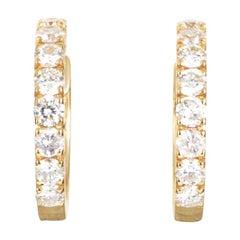 Women's Petite 14 Karat Rose Gold Diamond Hoop Earrings AER-9831R