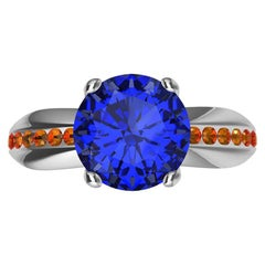 Womens Platinum 1.55 Carat Sapphire and Orange Spinels Cocktail Ring