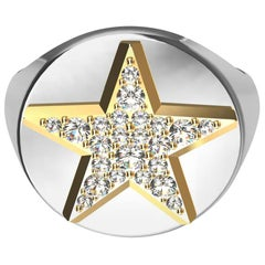 Womens Platinum and 18 Karat Yellow Gold GIA Diamond Star Signet Ring