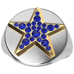 Womens Platinum and 18 Karat Yellow Gold Sapphires Star Signet Ring