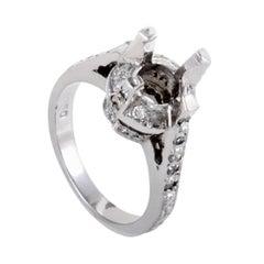 Womens Platinum Diamond Pave Engagement Ring Mounting