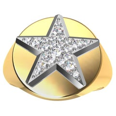 Womens Platinum GIA Diamond Star and 18 Karat Yellow Gold Signet Ring
