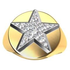 Womens Platinum GIA Diamond Star and 18 Karat Yellow Gold Signet Ring