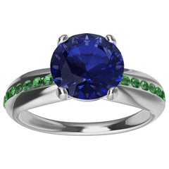 Womens Platinum Sapphire and Tsavorites Cocktail Ring