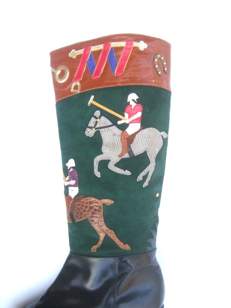 Women's Polo Player Suede & Leather Boots by Zalo US Size 8M c 1990s For Sale 8