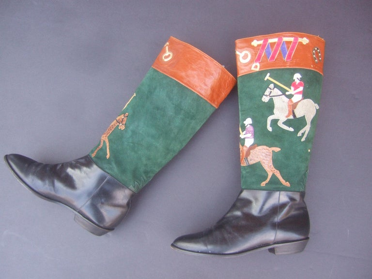 Women's Polo Player Suede & Leather Boots by Zalo US Size 8M c 1990s For Sale 10