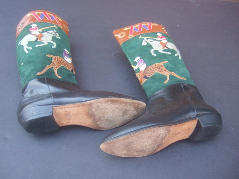 Women's Polo Player Suede & Leather Boots by Zalo US Size 8M c 1990s For Sale 16
