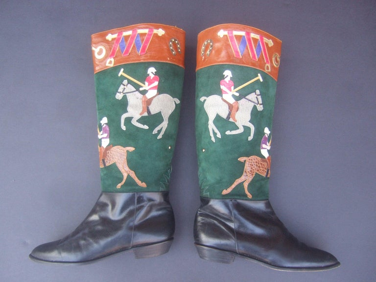 Women's Polo Player Suede & Leather Boots by Zalo US Size 8M c 1990s In Good Condition For Sale In Santa Barbara, CA