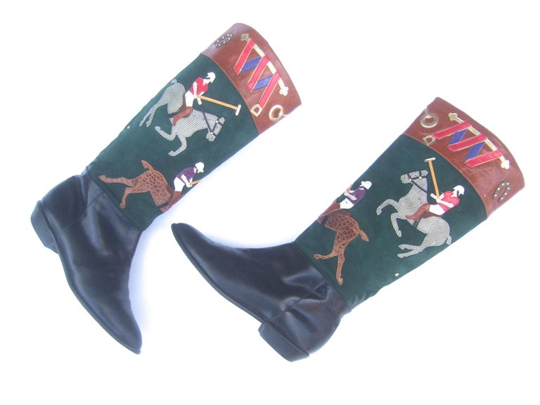 Women's Polo Player Suede & Leather Boots by Zalo US Size 8M c 1990s For Sale 3