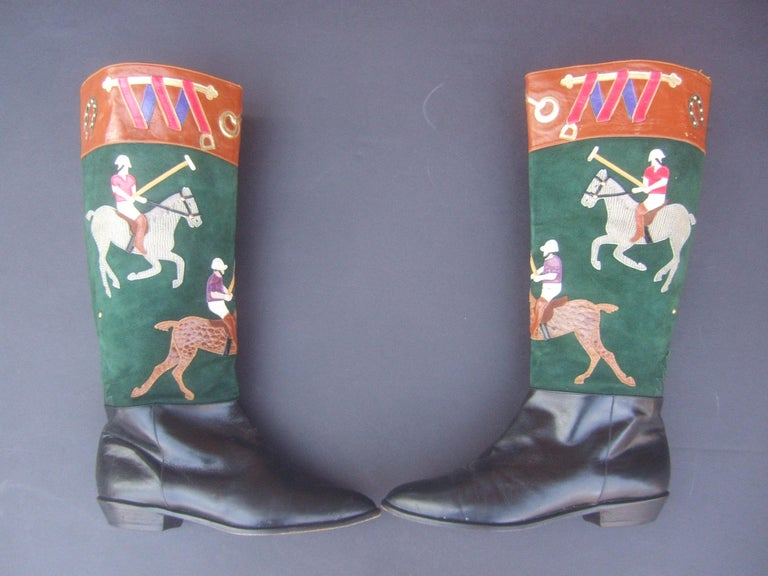 Women's Polo Player Suede & Leather Boots by Zalo US Size 8M c 1990s For Sale 6