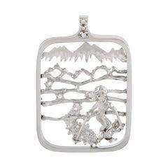 Womens Rectangular 14 Karat White Gold Diamond Skier Pendant