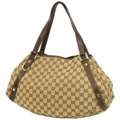Womens  shoulder bag 130736 3444  beige x dark brown Leather
