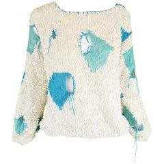 Women's Vintage Deconstructed Bouclé Knit Punk Couture Style Sweater, 1980s