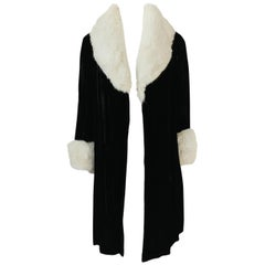 Wonderful 1920s Unlabeled Black Velvet Coat w Ermine Collar & Cuffs