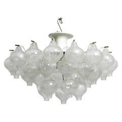 Wonderful 1960s J. T. Kalmar Franken Tulipan Ice Glass Ball Ceiling Lamp