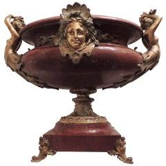 Wonderful 19th Century Doré Bronze Rouge Marble Monumental Figural Centerpiece