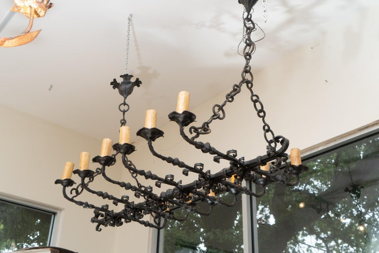 French Wonderful 19th Century Iron Chandelier For Sale