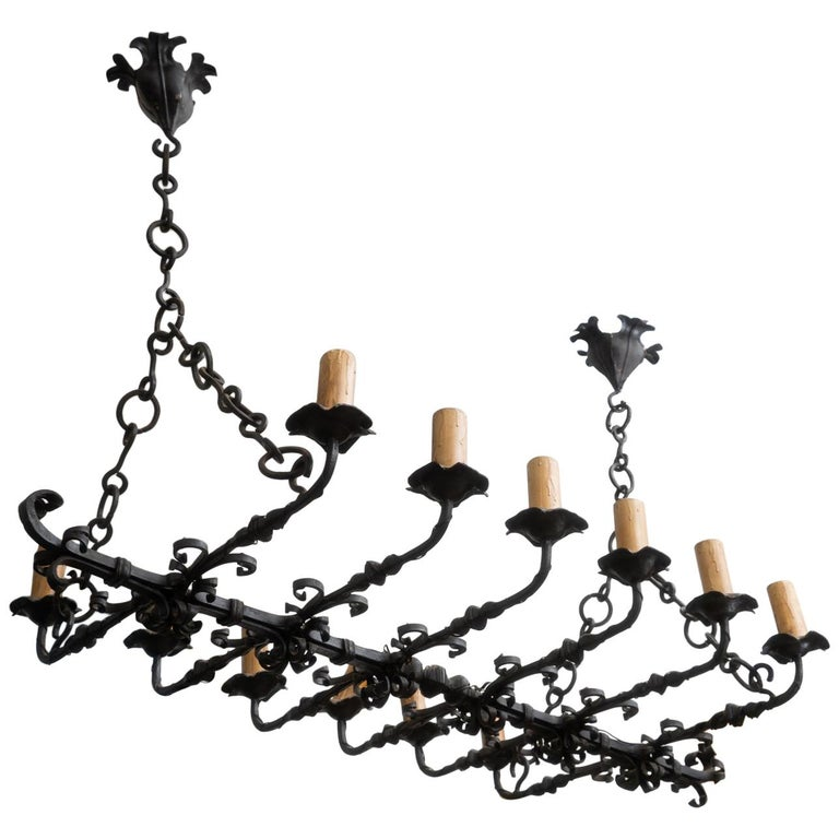 Wonderful 19th Century Iron Chandelier For Sale