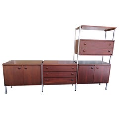 Wonderful 3 Bay Freestanding Walnut Wall Unit Stanley Mid-Century Modern
