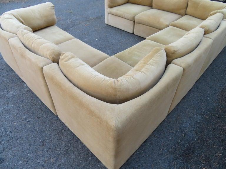 Wonderful 8 Piece Milo Baughman Curved Seat Sectional Sofa Mid-Century Modern For Sale 8