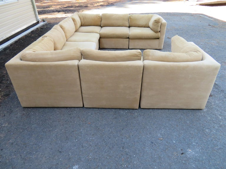 Late 20th Century Wonderful 8 Piece Milo Baughman Curved Seat Sectional Sofa Mid-Century Modern For Sale