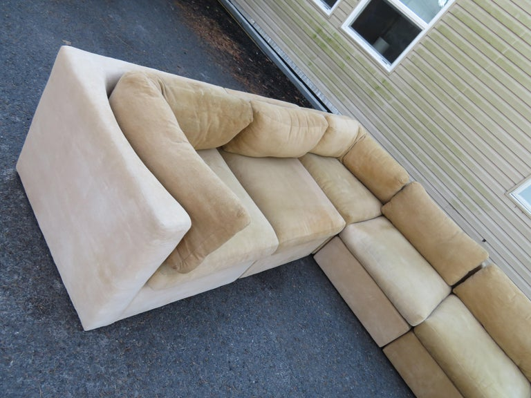 Upholstery Wonderful 8 Piece Milo Baughman Curved Seat Sectional Sofa Mid-Century Modern For Sale