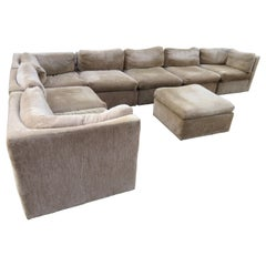 Wonderful 8-Piece Milo Baughman Curved Seat Sectional Sofa Mid-Century Modern