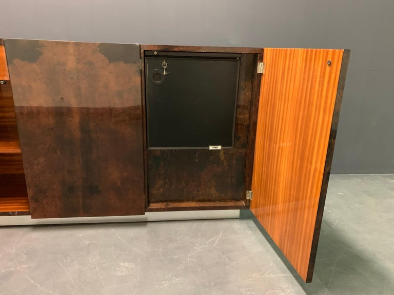 Hollywood Regency Wonderful Aldo Tura Sideboard with Bar and Refrigerator For Sale