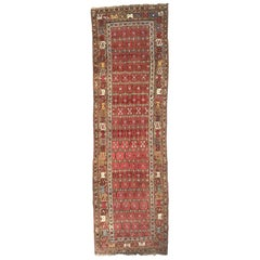 Wonderful Antique 19th Century Long Kurdish Rug