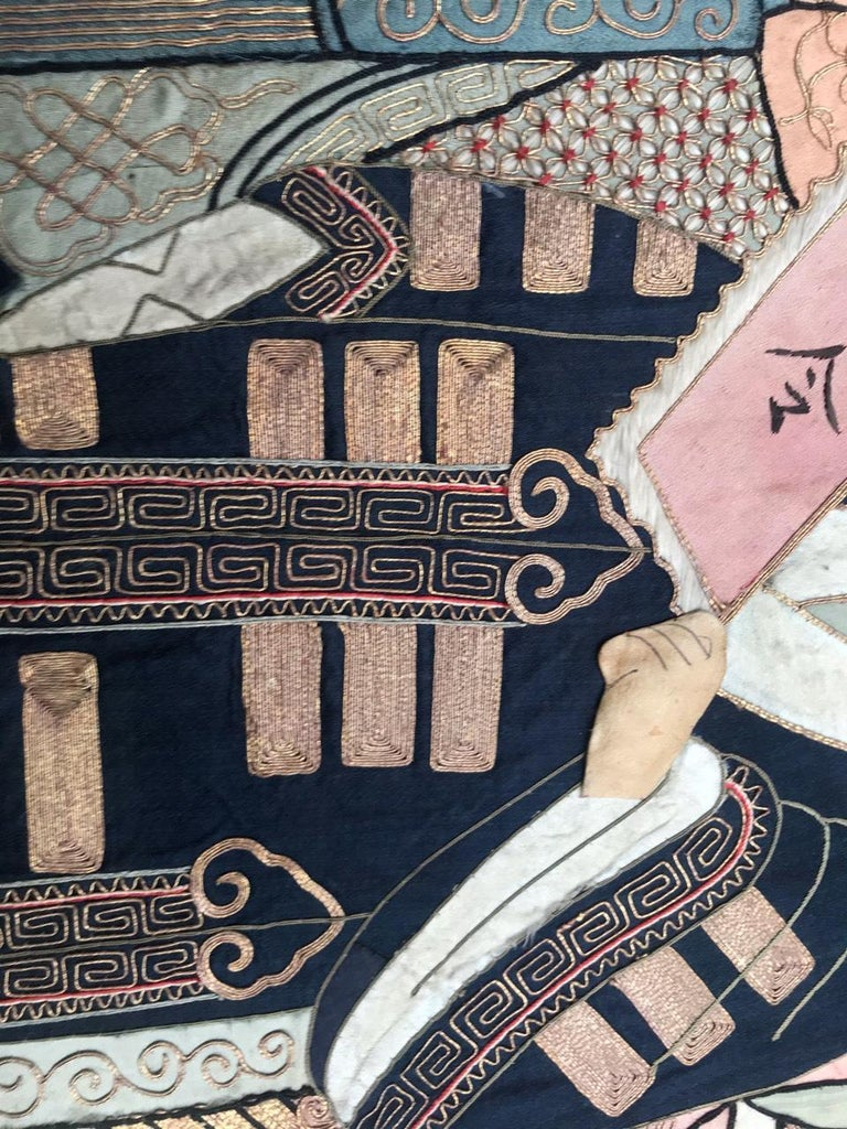 Wonderful Antique Chinese Pictural Embroidery with Silk and Metal For Sale 5