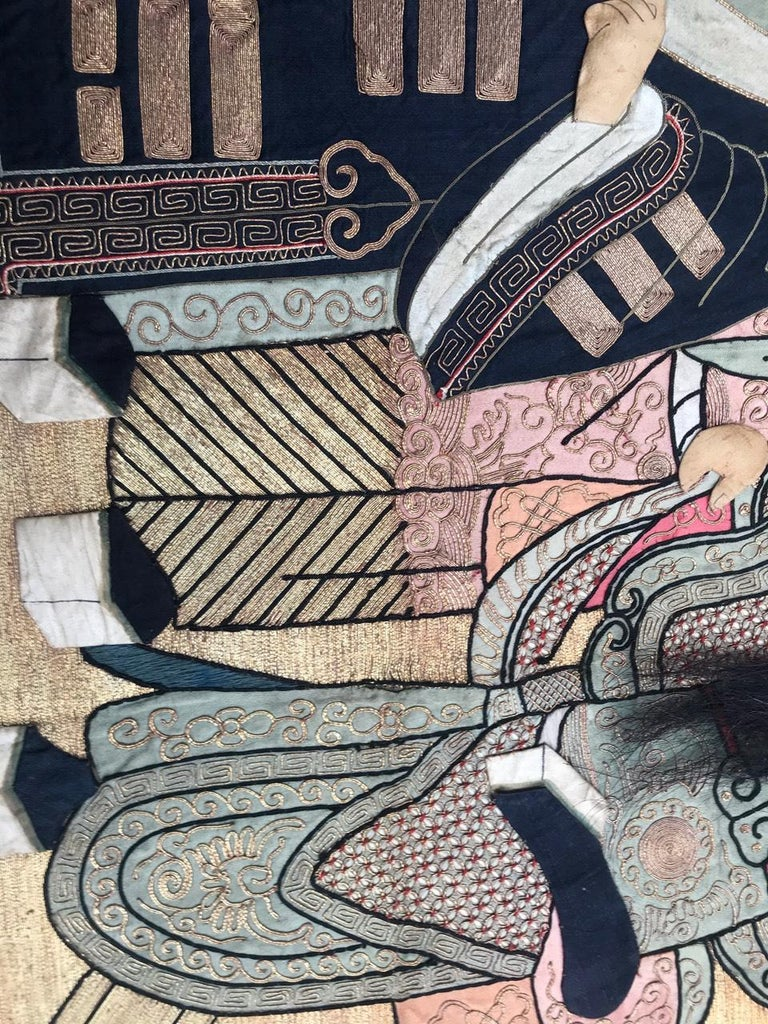 Wonderful Antique Chinese Pictural Embroidery with Silk and Metal For Sale 6
