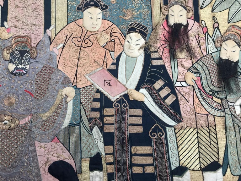 Wonderful Antique Chinese Pictural Embroidery with Silk and Metal For Sale 8
