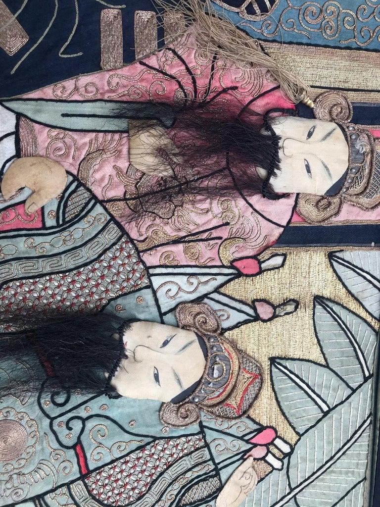 Wonderful Antique Chinese Pictural Embroidery with Silk and Metal For Sale 9