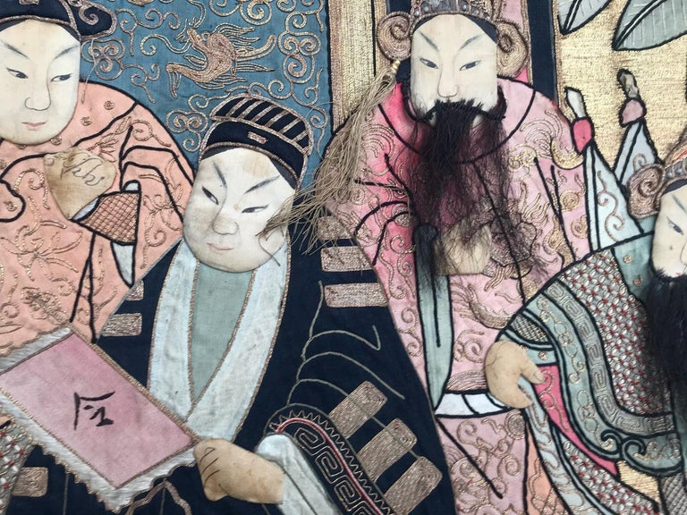 Embroidered Wonderful Antique Chinese Pictural Embroidery with Silk and Metal For Sale