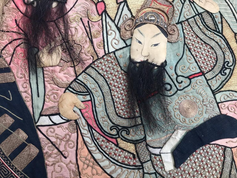 Wonderful Antique Chinese Pictural Embroidery with Silk and Metal In Good Condition For Sale In Saint Ouen, FR