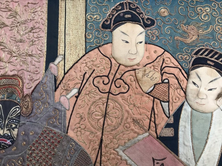 20th Century Wonderful Antique Chinese Pictural Embroidery with Silk and Metal For Sale