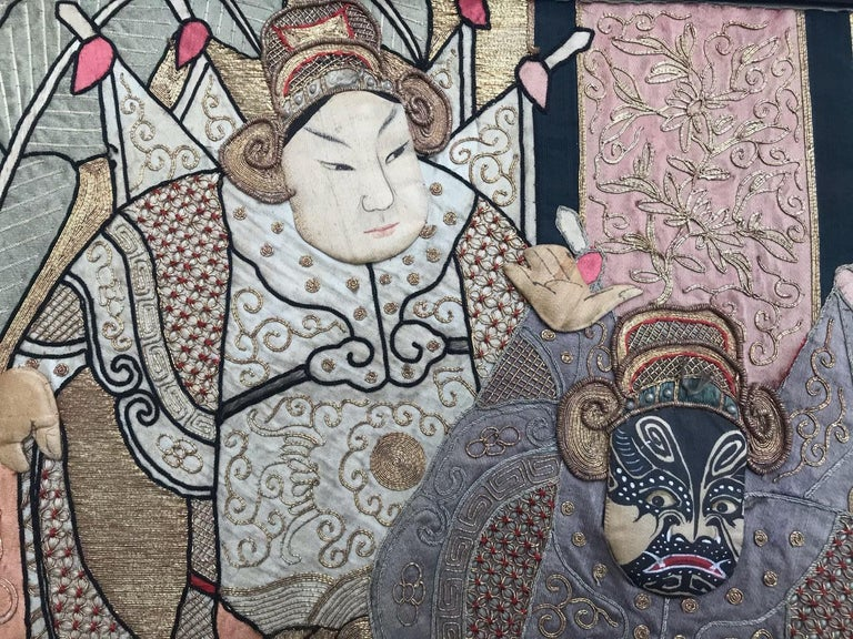 Wonderful Antique Chinese Pictural Embroidery with Silk and Metal For Sale 2