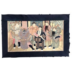 Wonderful Antique Chinese Pictural Embroidery with Silk and Metal